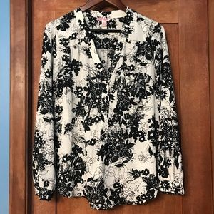 Candie's Black and White Floral Career Blouse